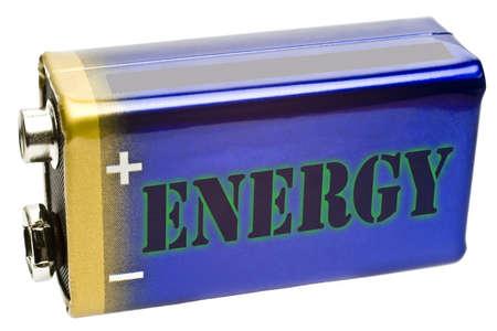 9v battery: Battery 9V from side on white background
