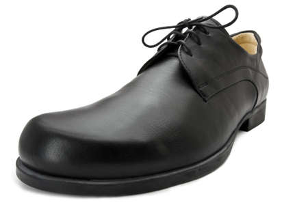 single black business leather shoe shot with wide angle lens. White background Stock Photo - 10079507
