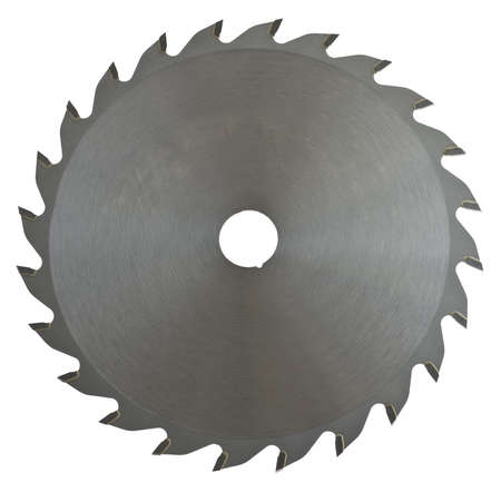 full-metal saw blade on white background. This saw blade is made for cutting wood