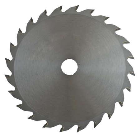 Voll-Metall-Sägeblatt auf weißem Hintergrund. Das Sägeblatt wird zum Schneiden von Holz Lizenzfreie Bilder