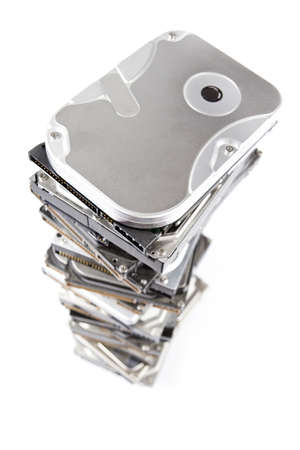 Stack of hard drive with copy space. White Background and blur at bottom of stack