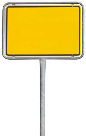 ortsschild: yellow placement sign  Stock Photo