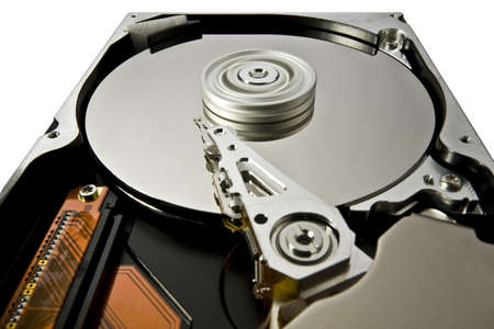 fixed disk: hard disk with rotating platter and fixed read write head in white background. extreme perspective Stock Photo