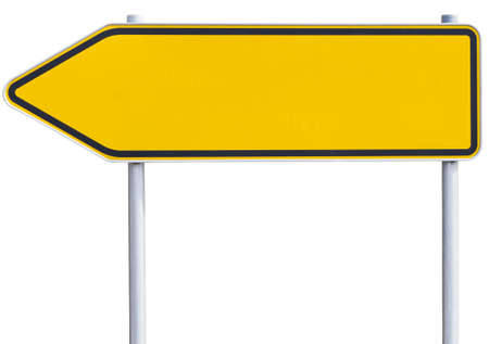 symbolization: yelloworange road sign . Arrow to the left. with clipping path