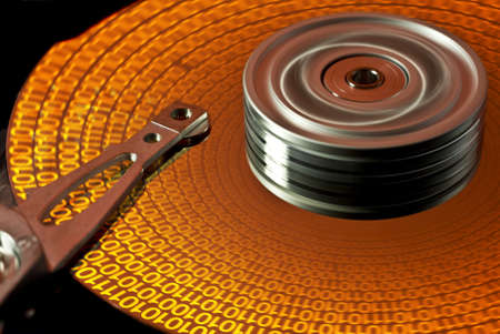 read data on hard disk with spinning hard disk photo