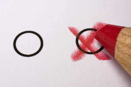 Two circles and a red pencil photo