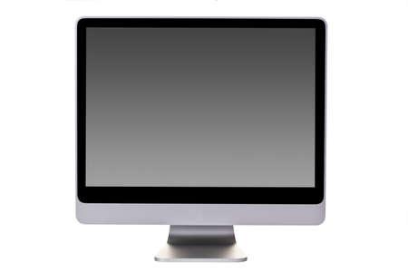Aluminium Desktop computer (flatscreen) with gray gardient in monitor on white Background.