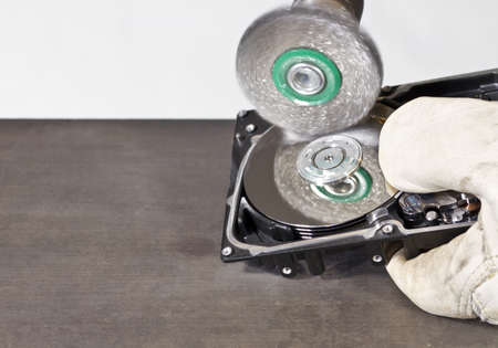 fixed disk: steel brush cleaning open hard disk drive