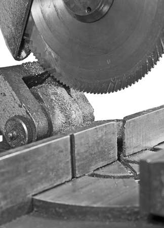 circular saw: cirkelzaag in close up. Ijzerzaag. Stockfoto