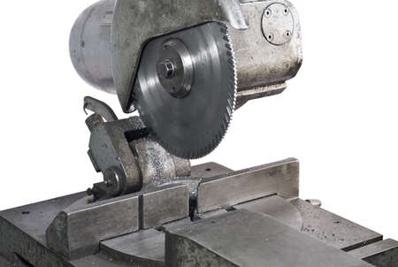 buzz saw: circular saw in close up. Metal saw.