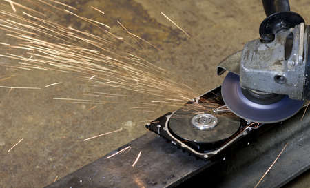 fixed disk: open hard disk with circular saw