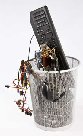 fixed disk: electronic waste in wast basket