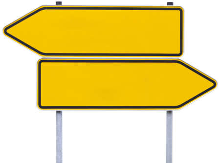 empty handed: german direction signs with clipping path isolated on white. One arrow pointing to the left, one to the right. Stock Photo