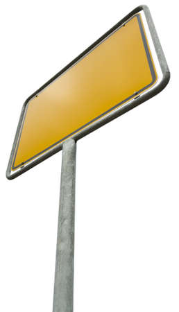 German placement sign isolated on white with clipping path.  photo