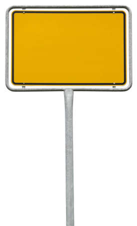 yellow blank sign (clipping path) isolated on white