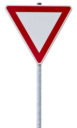 road sign: german give way sign with clipping path, isolated on white
