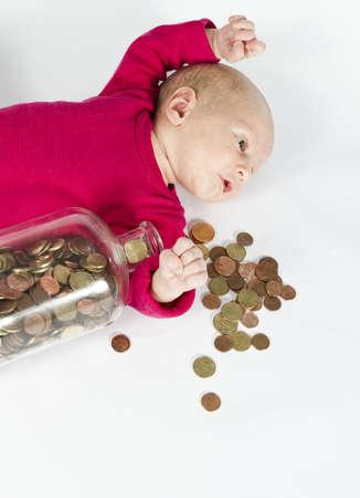 nursling: nursling with money in bottle laying down