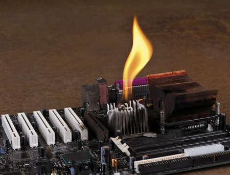 melting heat sink on computer board. Rusty Background