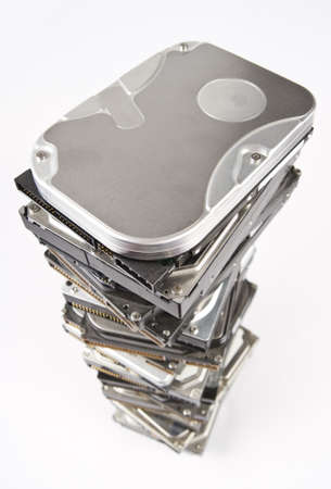 bulk memory: stack of hard drives with copy space on top Stock Photo