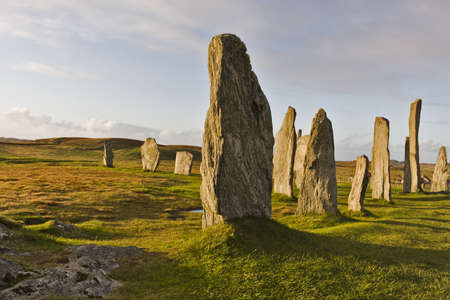 The Callanish Stones are an ancient monument. dramatic light