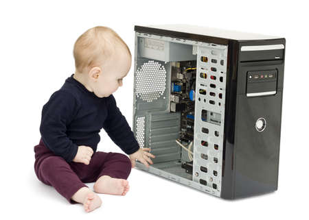 bulk memory: young child in blue shirt with open computer on white background