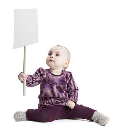 young child holding sign  isolated on white background photo