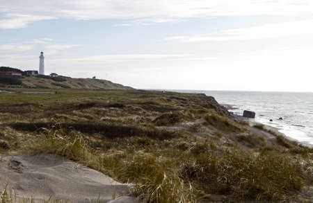 german ocean: coastal scene with grass and sand at north denmark with lighthouse Stock Photo