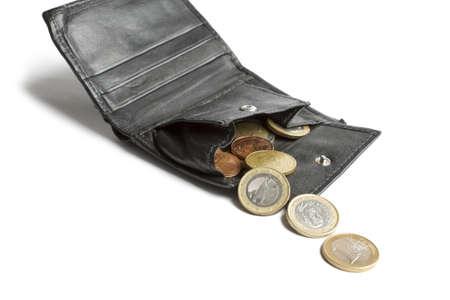 loose cash falling out of black wallet in white background Standard-Bild