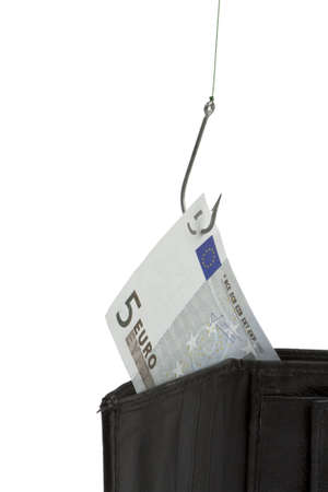 stealing money out of wallet with hook - vertical image photo