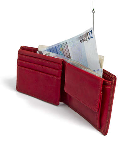 stealing cash card out of red wallet -  isolated on white background
