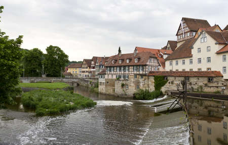 west of germany: historic weir in south west germany with lawn Stock Photo