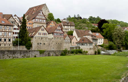 west of germany: historic city in south west germany with lawn Stock Photo