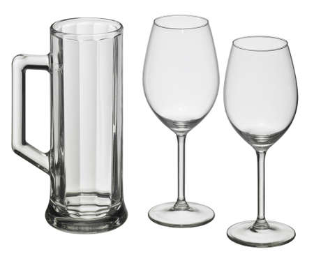 beer tulip: studio photography of a set of drinking glasses isolated on white
