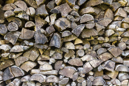 sustainably: stack of firewood in horizontal, fullframe view