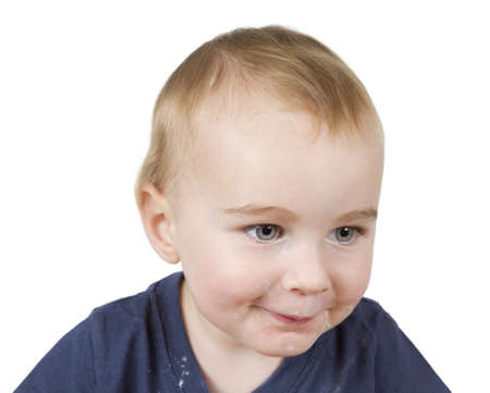 12 18 months: portrait of young child on white background Stock Photo