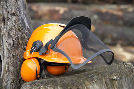 specific clothing: orange protective helmet with ear- and face- protection   Outdoor shot in woody ambiance