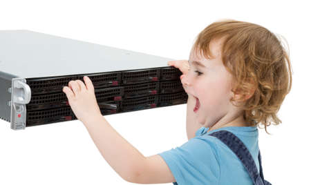 techie: child opening hot swap tray on modern network server  isolated on white background