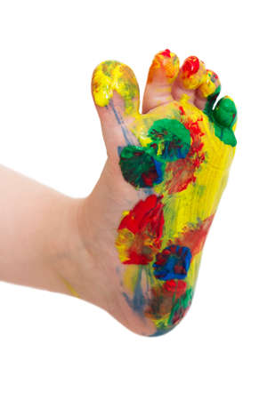 painted toes: painted feet from young child isolated in white bachground Stock Photo