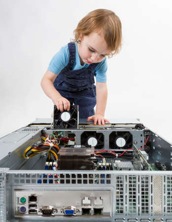 cute child with open network server  studio shot in light grey background photo