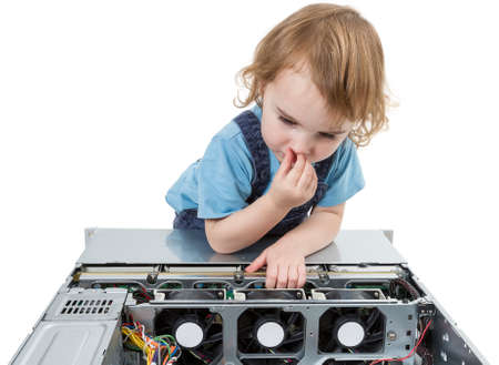 fixed disk: cute child with open network server  studio shot in light grey background