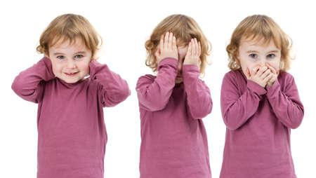 drei Bilder des gleichen Kind isoliert auf weiß und zusammen Lizenzfreie Bilder