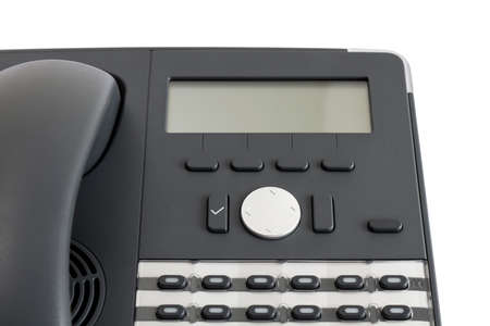 part of modern business phone isolated in white background. close up photo