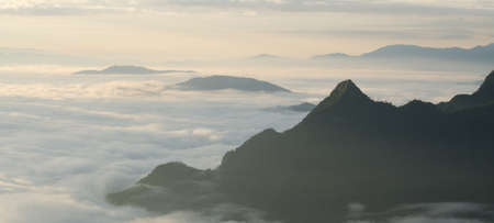 emanate: A view from hill of North Thailand in morning february and sunlight emanate on clouds flow