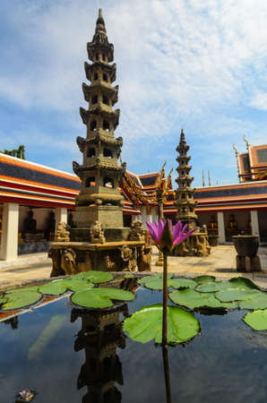 reflect: Temple in asian religion of Thailand,lotus flower and reflect Stock Photo
