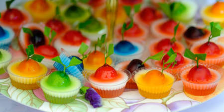 Jelly colorful on plate
