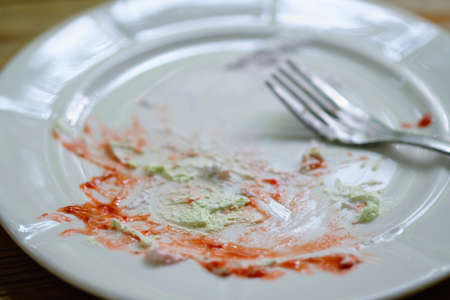 Empty plate of dessert  finished eat