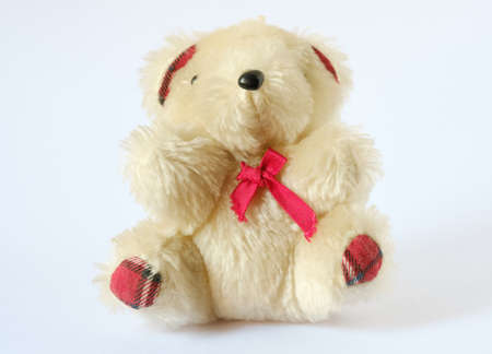 Teddy old doll on white background