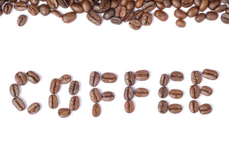 Bean coffee in isolated white background,text coffee of beans