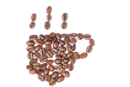 Place the coffee bean into a cup of coffee.isolated white background