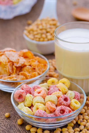 Cereal flakes in bowl with copy space,Breakfast concept.Food with delicious fruity taste and fruity colours.Its made with maize,wheat,and barley